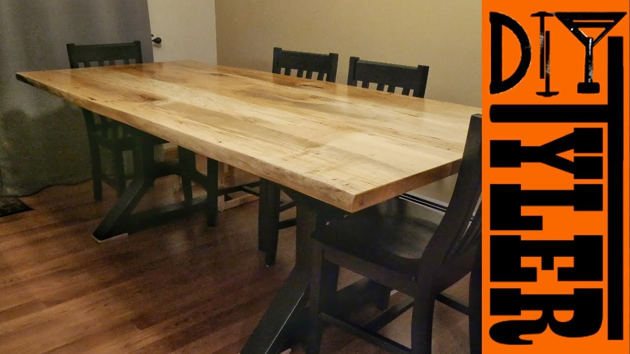 Live Edge Maple Slab Farmhouse Table Youtube