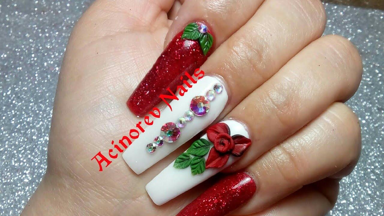 Unas Rojas Con Blanco Y 3d Glamour Nails Youtube