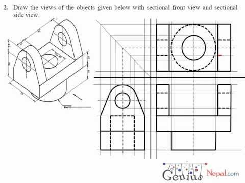 Engineering Drawing Tutorials / Orthographic Drawing with Sectional Front & Side view (T 7.2A)
