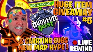 HUGE ITEM GIVEAWAY #5 🏆 CARRYING SUBS 🏰 King's Castle ⚔ Dungeon Quest ► Roblox PRO PC 🔴 LIVE Rewind
