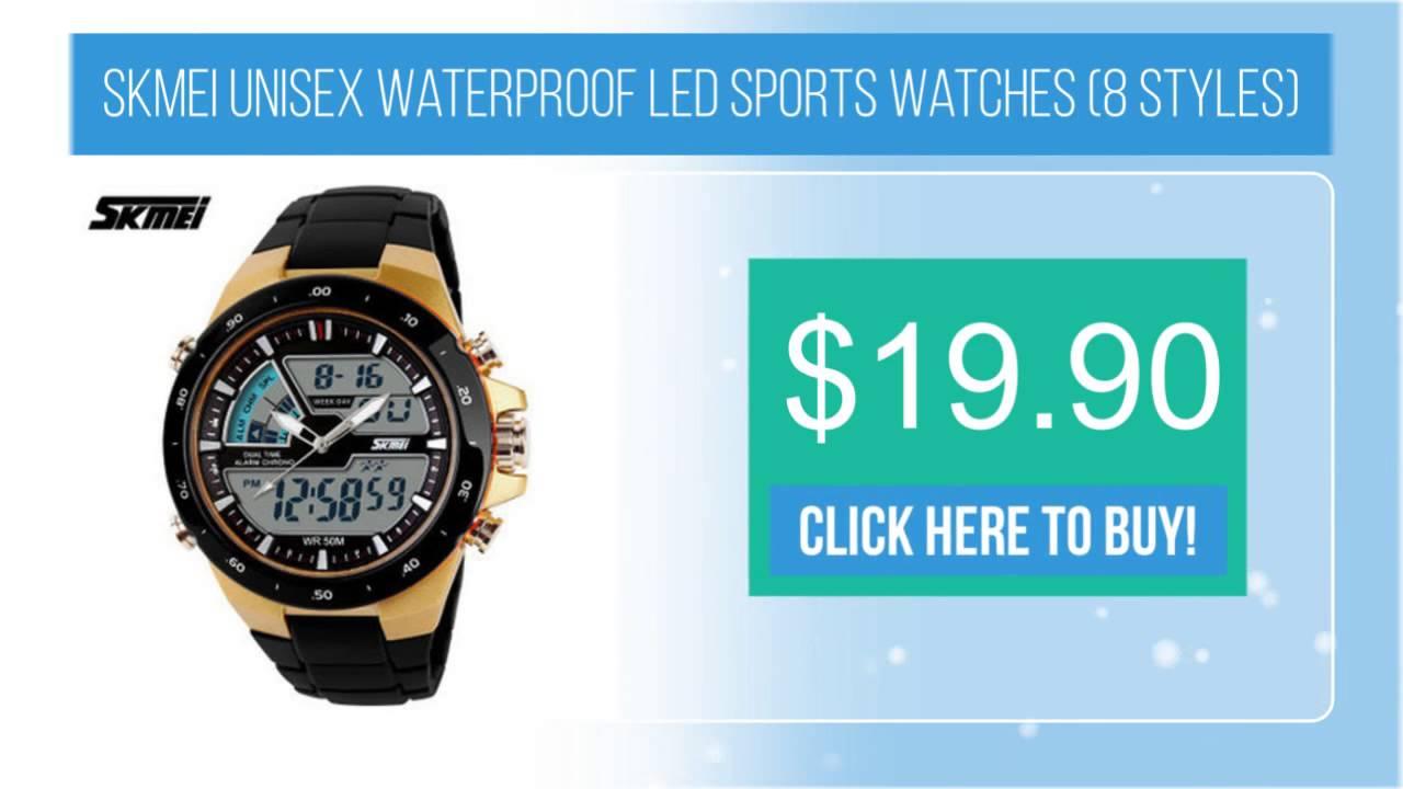 Skmei Unisex Waterproof Led Sports Watches 8 Styles Youtube Jam Tangan Digital Analog Ad1016 Black
