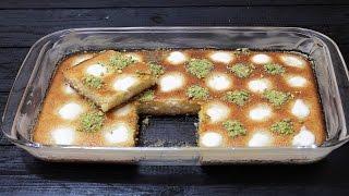 الهريسة او البسبوسة بالقشطة حلويات رمضان