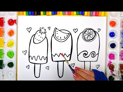 Thumbnail: Coloring Fruit Popsciles Painting Pages for Kids to Learn Drawing Coloring and Painting 💜