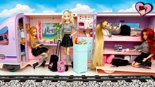 Barbie Rapunzel & Elsa Train Travel Evening Routine - Barbie Doll Train Toy