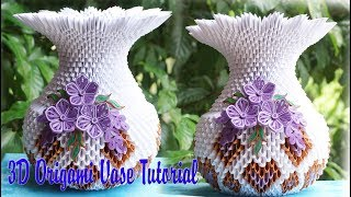 HOW TO MAKE 3D ORIGAMI VASE V1 | DIY PAPER VASE HANDMADE DECORATION TUTORIAL