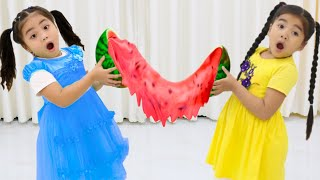 Annie and Suri Make Giant Watermelon Satisfying Slime