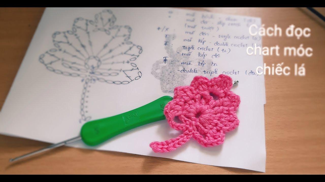 Hướng dẫn móc lá cây bằng len/ Cách đọc theo chart có sẵn | Tutorial crochet a leaf | HaNa