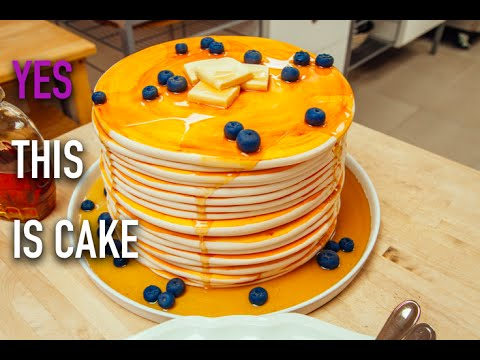 How to Make a Stack of Giant Blueberry Pancakes out of CAKE! With Maple-Infused Buttercream!