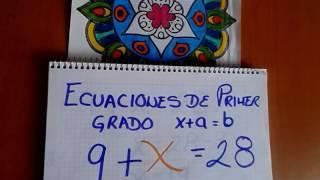 Ecuaciones de Primer Grado de la forma  x + a = b