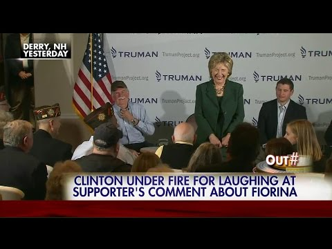 Hillary Clinton laughs as audience member jokes about strangling Carly Fiorina