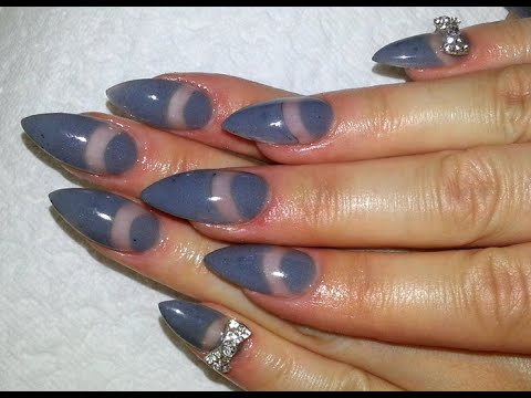 Negative E Almond Nails Diy Grey Colored Acrylic Powder