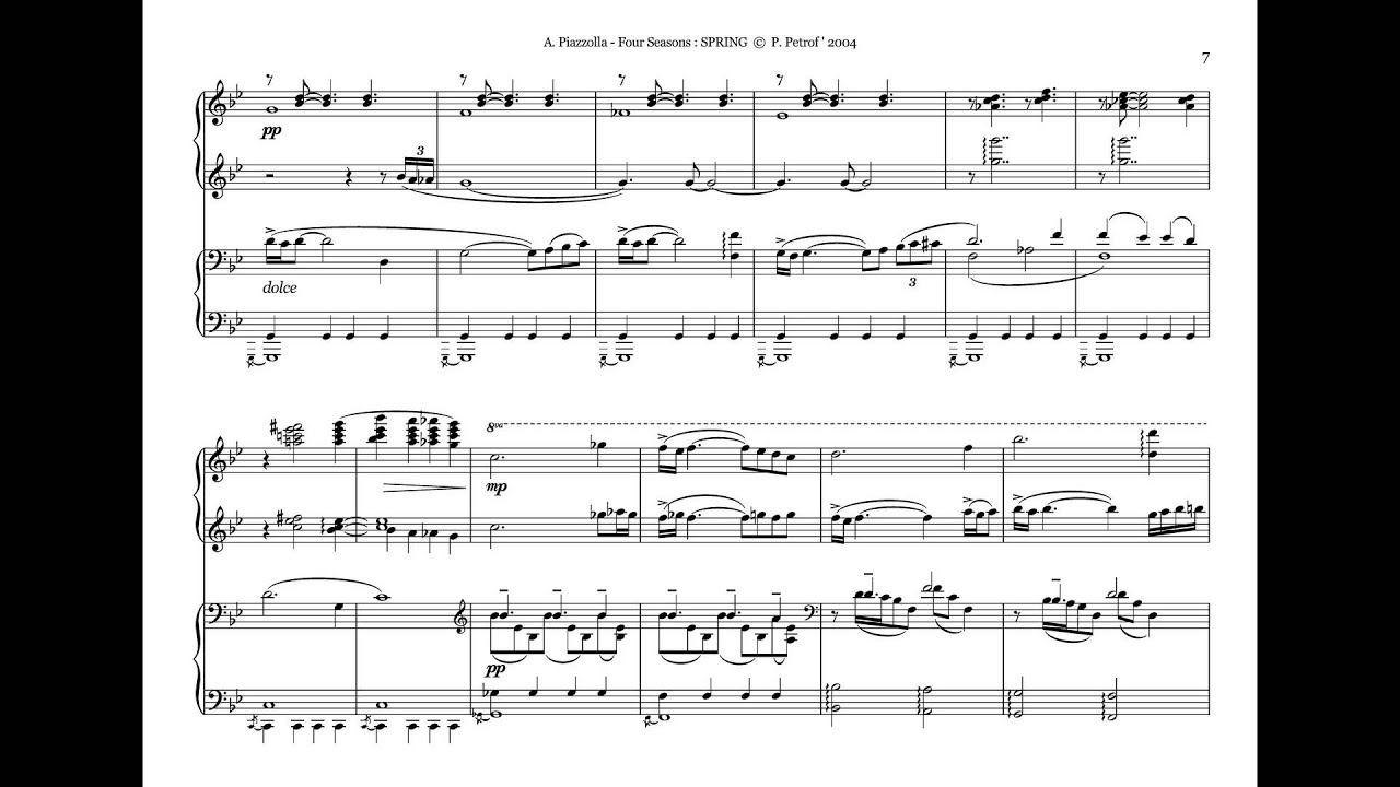 a piazzolla four seasons 1 spring for piano 4 hands sheet music youtube. Black Bedroom Furniture Sets. Home Design Ideas
