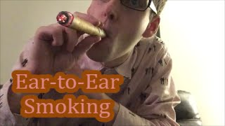 ASMR Ear-to-Ear Smoking Sounds, Burning, Cigar Crinkles