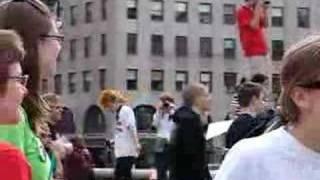 Dancing gas mask kid