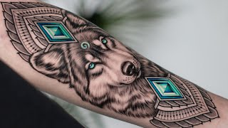 REALISTIC WOLF with BLUE EYES TATTOO TIME LAPSE