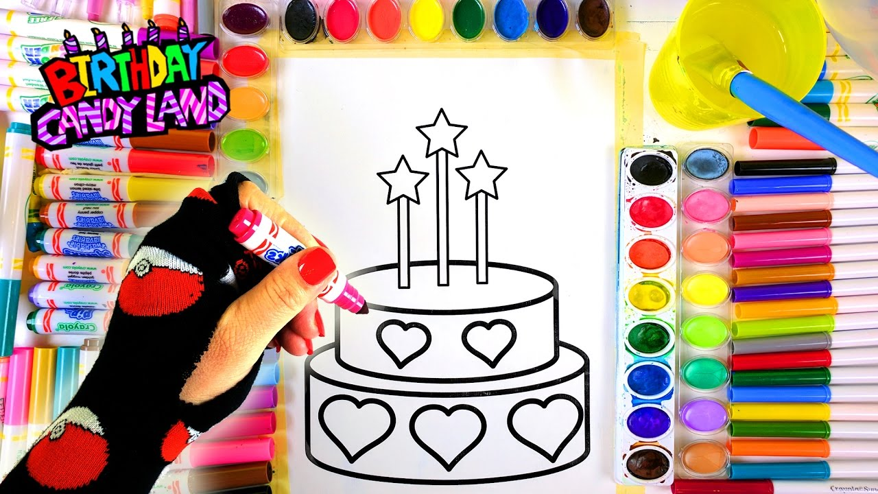 Learn Colors for Kids and Hand Color Heart Birthday Cake Coloring ...