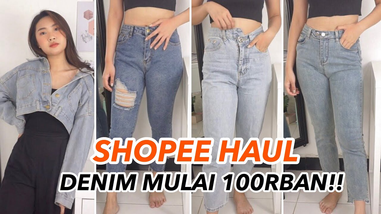 Jeans Korea High Waist Shopee Haul Celana Rok Jaket Try On Lengkap Youtube