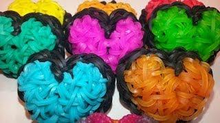 ONE LOOM Puffy Heart Charm Tutorial by feelinspiffy (Rainbow Loom)