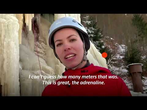 Czech climbers tackle ice wall in winter chill