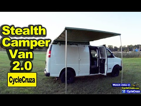 DIY Stealth CAMPER VAN 2.0 (Carries Motorcycle Inside!) AMAZING!