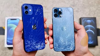 iPhone 12 vs 12 Pro DROP Test! 4x Stronger Ceramic Shield!