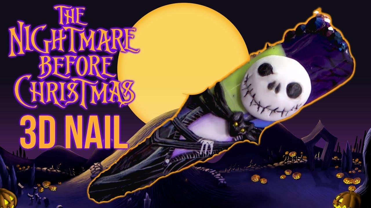 the nightmare before christmas halloween 3d nail art - Nightmare Before Christmas 3d