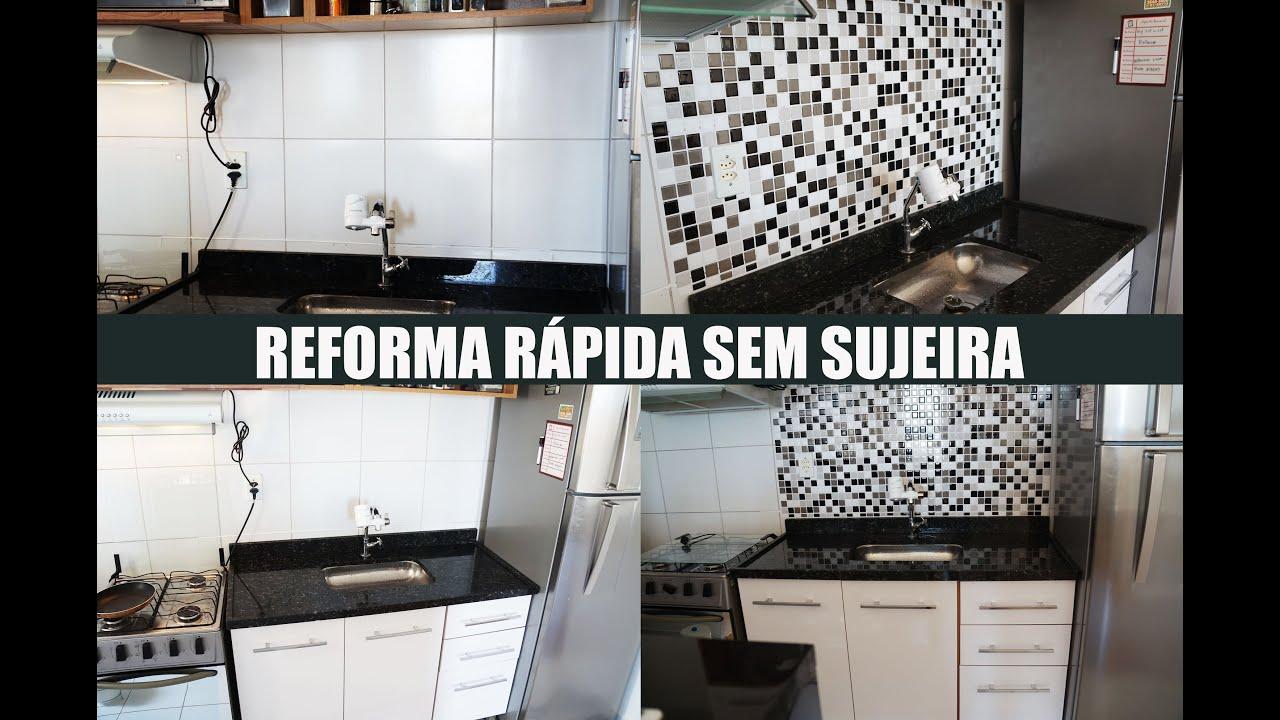 #776454 Reforma da cozinha com pastilha resinada adesiva Faça você mesma  3000x1989 px reforma banheiro preto e branco