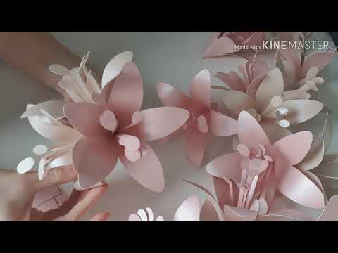 Lilly Paper Flower Template. Paper Flower Tutorial. Diy Paper Flowers. Easy Paper Flowers