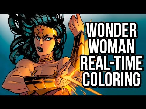 Watch me work on Wonder Woman: a Photoshop comic coloring tutorial!