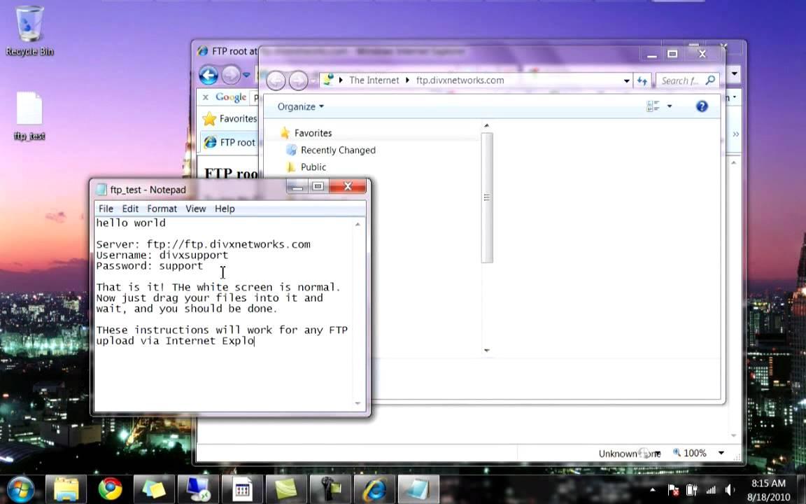 How To upload files via FTP using Internet Explorer -- IE