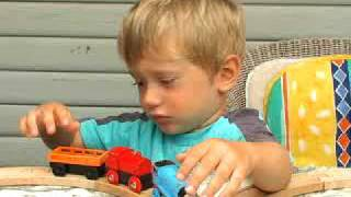 Alex and Matt play with Thomas train