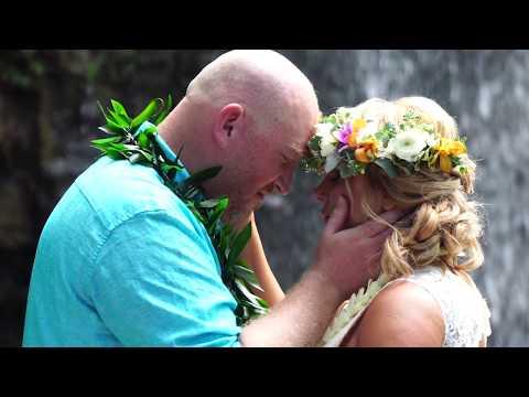 Tina & Jeff's Kauai, Hawaii Private Water Fall Elopement