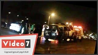 الحماية المدنية تسيطر على حريق سيارة شرطة بالمهندسين