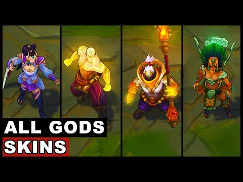 All Gods Skins Spotlight God Staff Jax God Fist Lee Sin Lunar Goddess Diana Sun Goddess Karma