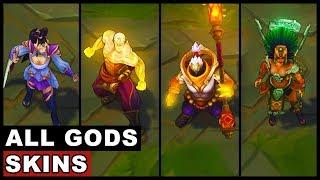 All Gods Skins Spotlight God Staff Jax God Fist Lee Sin Lunar Goddess Diana Sun Goddess Karma