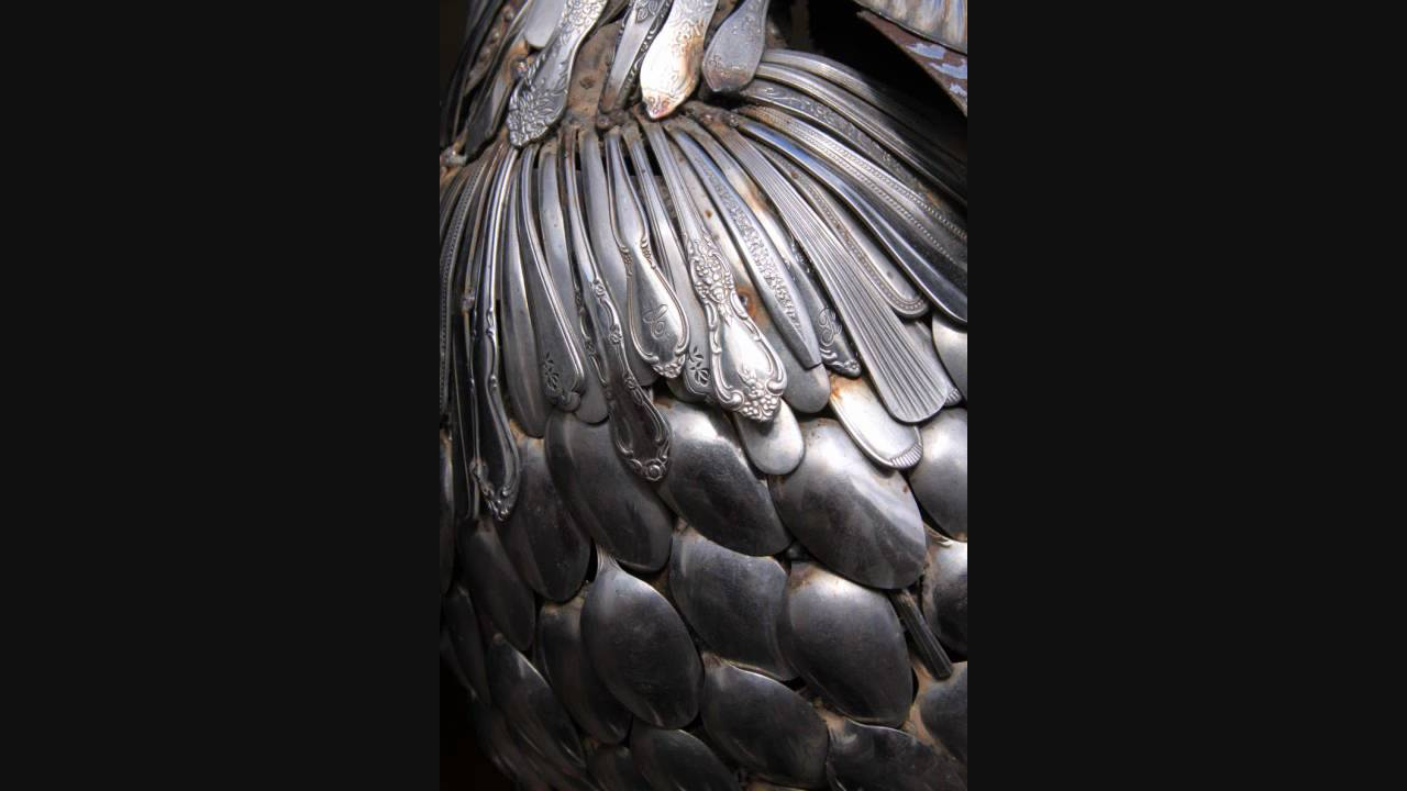 john lopez sculptures welded silverware peacock youtube