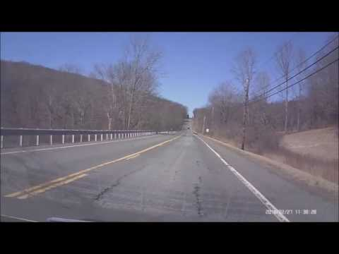 Driving on Route 254 in Litchfield County, Connecticut