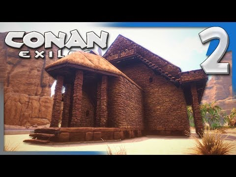 BUILDING OUR FIRST BASE & GETTING SETTLED IN!   Conan Exiles Multiplayer Gameplay S3E2