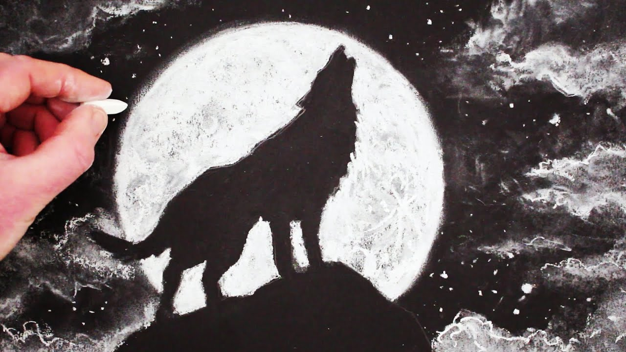 how to draw a wolf howling at the moon step by step youtube