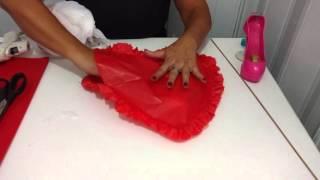 Como fazer corações de papel de seda com babadinho e enchimento reciclável