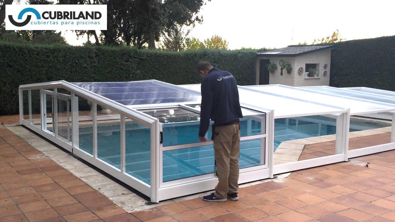 Cubiertas de piscina plegables m viles cubriland youtube for Cubiertas de piscinas baratas