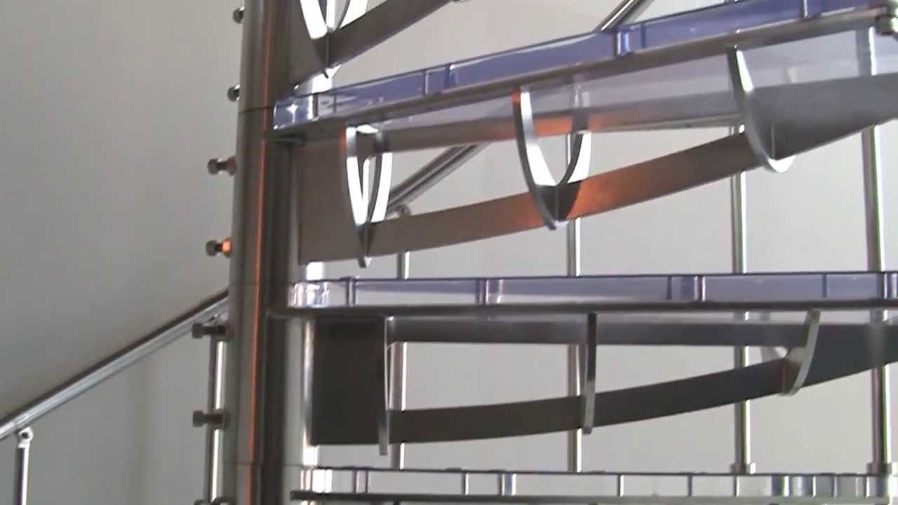 Stainless Steel U0026 Glass Spiral Stairs   YouTube