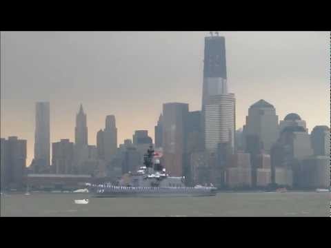 Japanese destroyer JS Shirane passes the World Trade Center at the start of Fleet Week