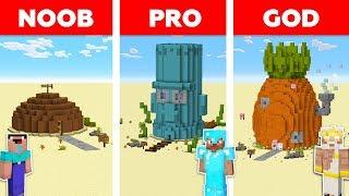 Minecraft Battle: NOOB vs PRO vs GOD: SPONGEBOB HOUSE CHALLENGE in MINECRAFT / Animation