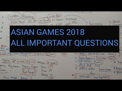ASIAN GAMES 2018: MOST IMPORTANT QUESTIONS