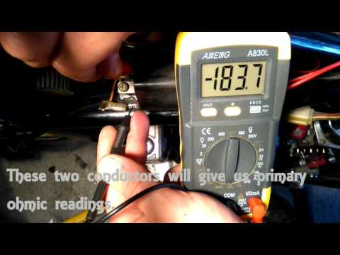 How to test ignition coil condition of the motorcycle with multimeter.