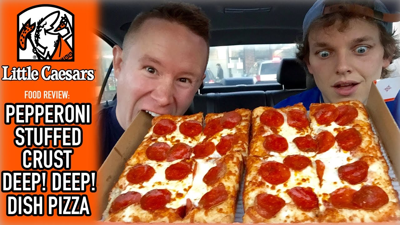 Little Caesars Pepperoni Stuffed Crust DEEP Dish Pizza Food Review