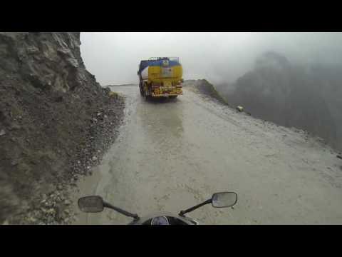 Crossing dangerous Zoji la Pass, Kashmir(Rainy Day) on CBR 250 shot by GoPro
