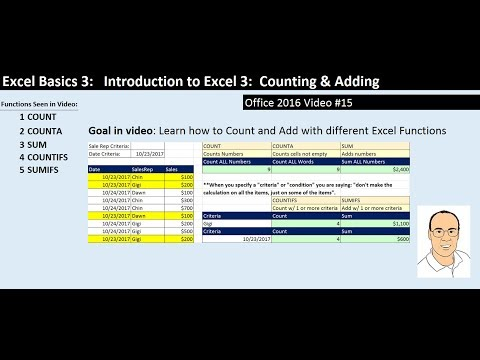 Excel Basics 3: Count & Add with COUNT, COUNTA, SUM, COUNTIFS, SUMIFS Functions (Intro Excel #3)