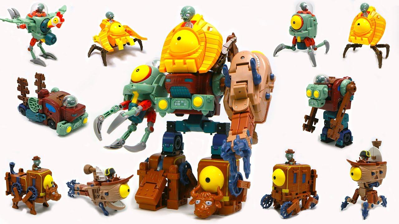 Plants vs Zombies  5 in 1 Assembly Deformation Combin Zombie BOSS Robot Doll PVZ Transformers Toys